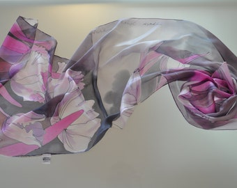 Hand painted silk Scarf/Painting silk scarf/Orhids in Gray/Woman long scarf/Accessories/Woman gift/Painted on hand silk scarf made /S0145