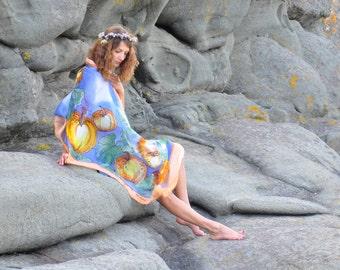 Hand painted silk shawl/Pumpkins/Summer sarong/Woman Silk shawl/Painting scarf/Painted by hand shawl/Blue silk shawl made by GABYGA/S0200