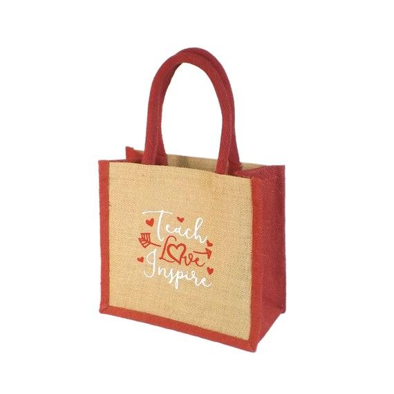 Jute Hesse toile de jute rouge garniture petit sac cabas Shopping / sac à Lunch - enseignants cadeau-Teach amour Inspire