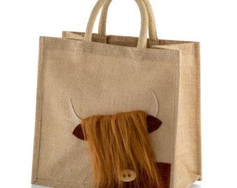 Medium Jute Hessian Burlap Peekaboo Highland Cow / Coo Tote Shopping Bag - Height 30cm x Width 30cm x Depth 18cm
