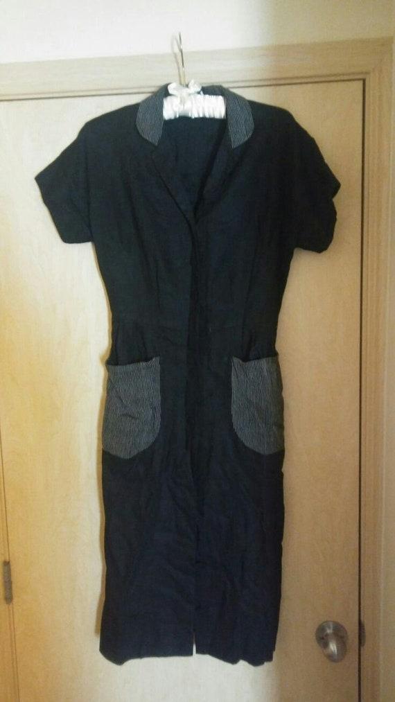 1950s Black Shirt Dress With Pockets