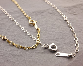 Adjustable Chain, gold simple chain, sterling simple chain, gold chain necklace, plain necklace, sterling silver, gold filled, 5g/5s