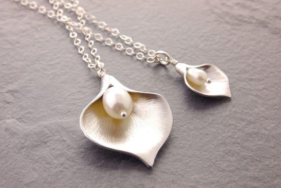 c1b96de364 Mother Daughter Necklace calla lily necklace pair necklace   Etsy