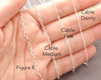 Silver Plain Chain, sterling silver chain necklace, cable chain, make your own necklace, solid sterling, simple chain, dainty chain, 1s