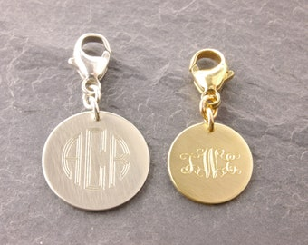 Add-On Monogram Charm, add on charm, lobster clasp, add charms, bracelet charm, monogram jewelry, monogram pendant, monogram necklace, AD