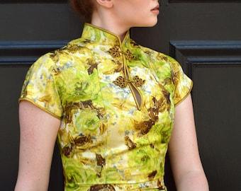 1960's Mai-Li green, yellow, and metallic gold brocade asian style wiggle dress