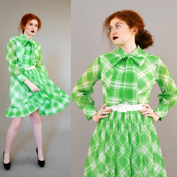 1970s Green Plaid Dress with Belt