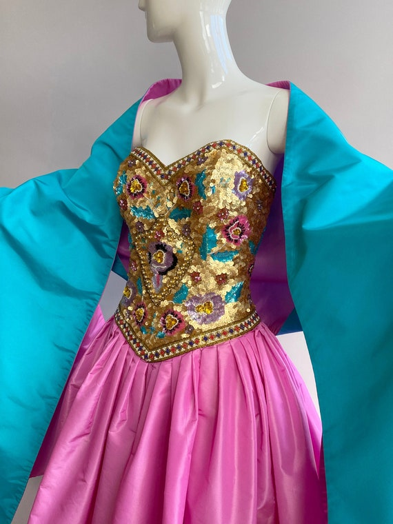 1980's Victor Costa pink taffeta ball gown with be