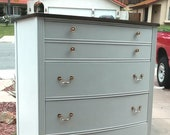 Two Tone White Federal Highboy, Chest by Dixie Farmhouse Chic
