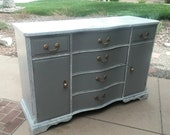 White Gray Shabby French Country Farmhouse Dining Sideboard, Buffet Server Cabinet, Credenza by Craddock Modern Chic