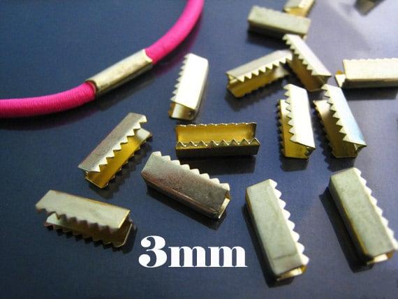 Finding 10 Pcs Vintage Gold Metal Fold Over Strong Crimp Etsy