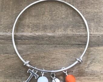 Tennessee Vols Inspired Adjustable Bangle Bracelet