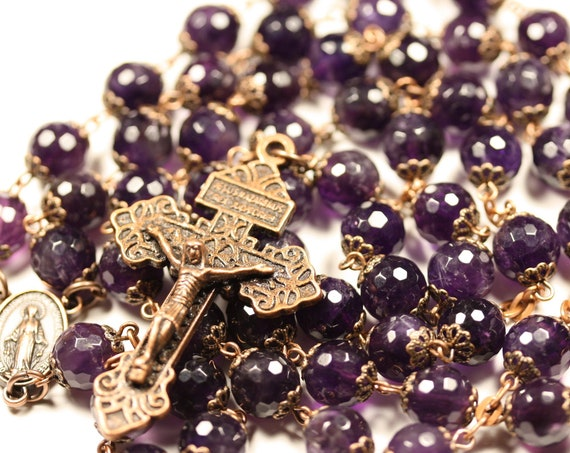 Large 10mm Amethyst Rosary in a lower grade stones