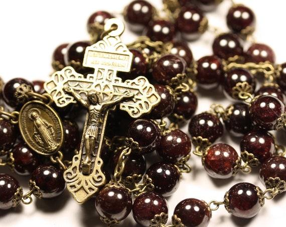 10mm Garnet Pardon Rosary in Bronze Handmade Oklahoma