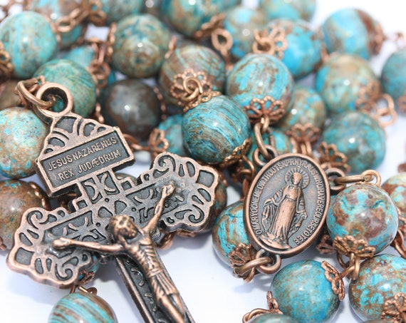 10mm Heaven and Earth Jasper Rosary in Copper with Faceted Stones and Pardon Crucifix Handmade in Oklahoma