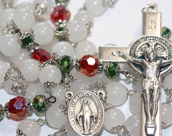 Decrative Christmas Rosary White Jade and Crystal made in Oklahoma