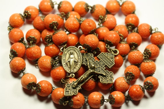 Coffee Table Rosary - Large 12mm Coral and Bronze Handmade Rosary Handmade in  Oklahoma 5 decade Pardon Crucifix