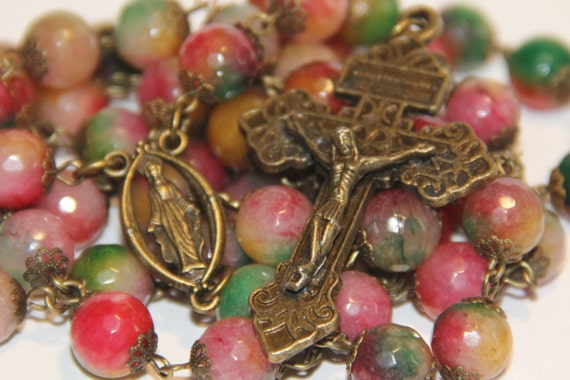 Candy Jade and Bronze or Copper oversized 10mm rosary with Pardon Crucifix handmade in Oklahoma
