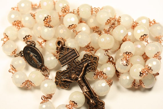Large Faceted White Jade with Bright Copper Bead Caps and a AB finish 10mm rosary