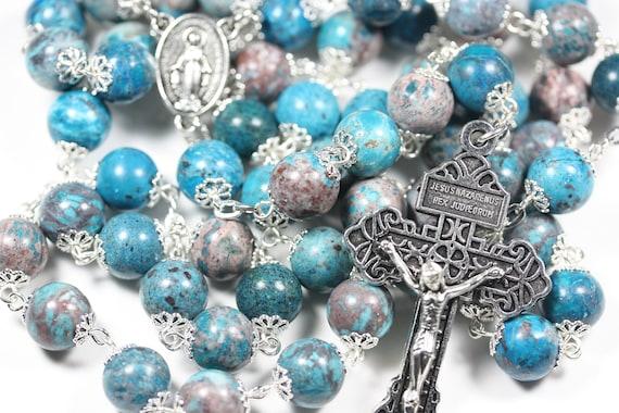 Large 10mm Mediterranean Jasper in Silver Handmade Rosary Handmade in  Oklahoma 5 decade Pardon Crucifix