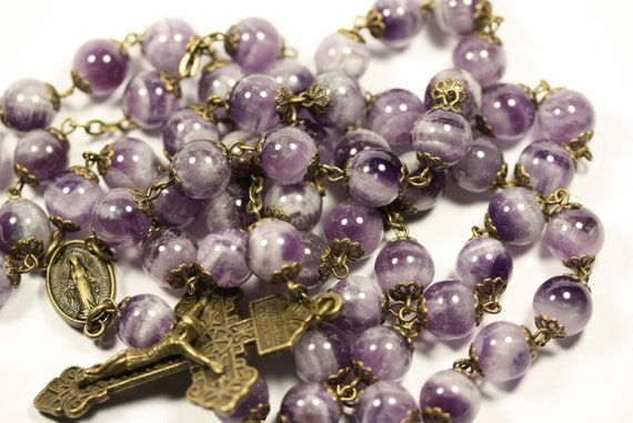 10mm Non-Faceted Amethyst Rosary in Bronze with Pardon Crucifix Handmade in Oklahoma