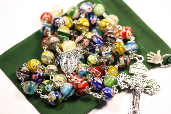 "Large 10mm Nonfaceted (Smooth) Millefiori (French Glass ""Million Flower"") in Silver Rosary made in Oklahoma - Easter Special"