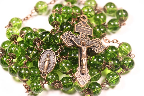 10mm Peridot and Copper oversized Rosary handmade in Oklahoma with a Pardon Crucifix