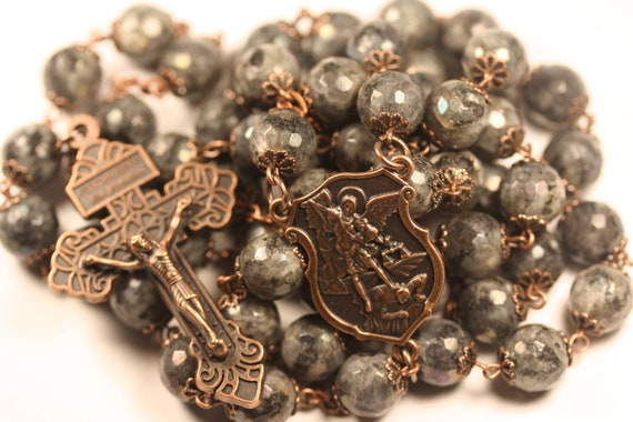 Large Copper St. Michael Larvakite 10mm 5 Decade Bead Rosary with a Pardon Crucifix Made in Oklahoma