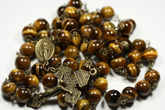 Coffee Table Rosary - Large 12mm Tigereye and Bronze Handmade Rosary Handmade in  Oklahoma 5 decade Pardon Crucifix