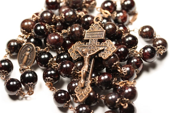 10mm Garnet Pardon Rosary in Copper Handmade Oklahoma