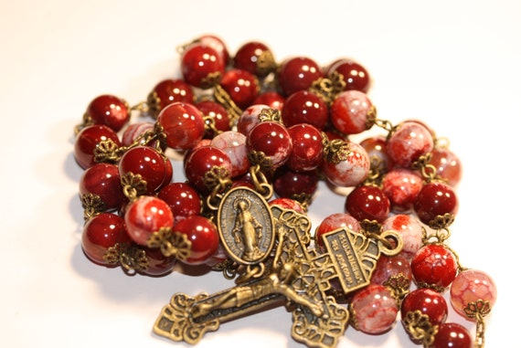 Large 10mm Red Fire Agate and Bronze Handmade Rosary Handmade in  Oklahoma 5 decade Pardon Crucifix