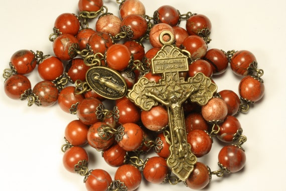 Large 10mm Red Jasper in Bronze Oklahoma handmade Rosary