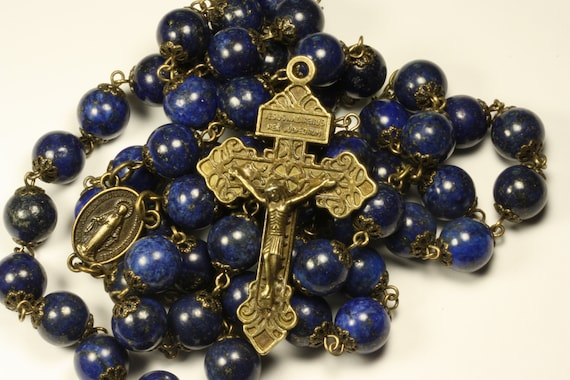 Lapis and Bronze oversized 10mm rosary with Pardon Crucifix