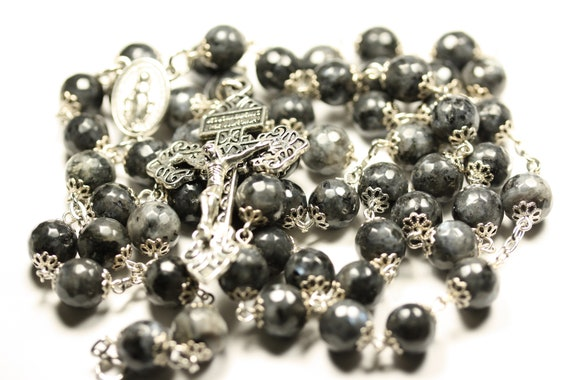 Large Larvakite with Aurura Borialis or Rainbow finsh in Silver 10mm 5 Decade Bead Rosary Made in Oklahoma