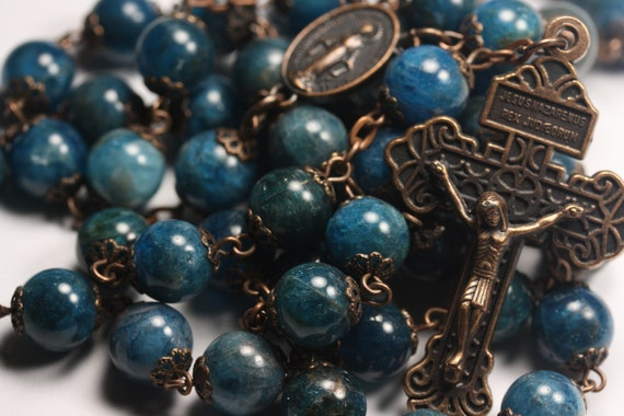 Large 10mm Azurite Rosary in  Copper With Miraculouse Medal and Pardon Crucifix Handmade in Oklahoma