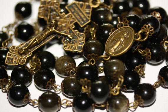 Golden Obsidian Rosary in Bronze made in Oklahoma with Pardon Crucifix