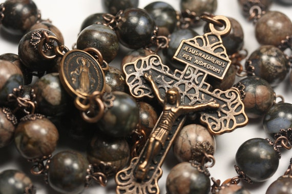 Large 10mm Brown and Blue Opal Bead Rosary in  Copper With Miraculouse Medal and Pardon Crucifix Handmade in Oklahoma