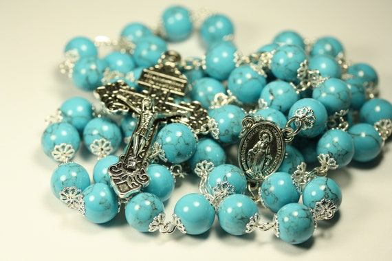 10mm Large Imitation Blue Turquoise and Silver Rosary Made in Oklahoma with Pardon Crucifix