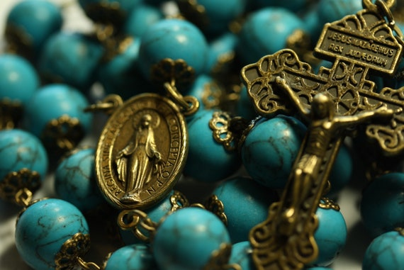 Coffee Table Rosary - Large 12mm Imitation Turquoise and Bronze Handmade Rosary Handmade in  Oklahoma 5 decade Pardon Crucifix