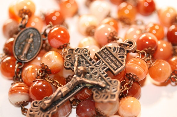 Oklahoma Rosaries Large 10mm Orange Striped Agate Rosary in Bonze with a Pardon Crucifix