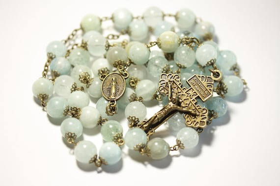 Large 10mm Nonfaceted (Smooth) Genuine Aquamarine Rosary in Bronze made in Oklahoma