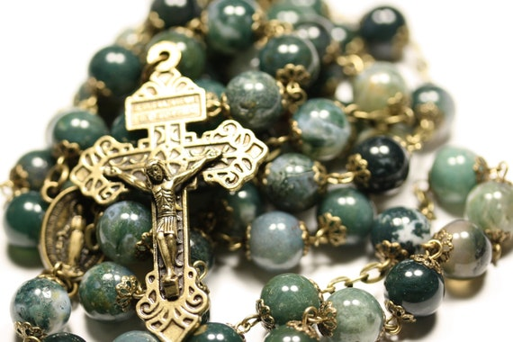 Large 10mm Green Ice Agate in Bronze Made Oklahoma 5 Decade Catholic Rosary with Pardon Crucifix