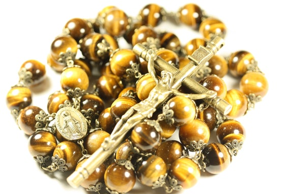 14mm Tiger eye Stone Bead Wall Rosary in Bronze made in Oklahoma
