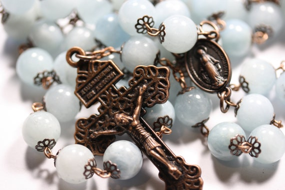 Large 10mm Nonfaceted (Smooth) Genuine Aquamarine Rosary in Copper made in Oklahoma