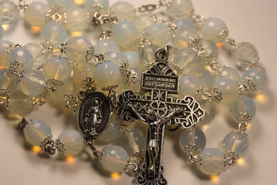 Large 10mm Faceted Opalite (Imitation Opal) in Silver  Handmade Rosary Handmade in  Oklahoma 5 decade with Pardon Crucifix
