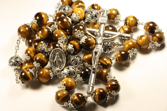 14mm Tiger eye Stone Bead Wall Rosary in Silver made in Oklahoma