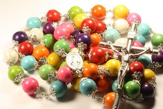 16mm Multi Color Howlite Stone Bead Wall Rosary in Silver made in Oklahoma