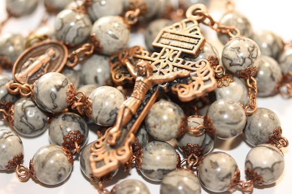 10mm Large Grey Lace Jasper Rosary in Copper with Pardon Crucifix Made in Oklahoma