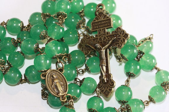 Large 10mm Green Jade and Bronze Handmade Rosary Handmade in  Oklahoma 5 decade Pardon Crucifix