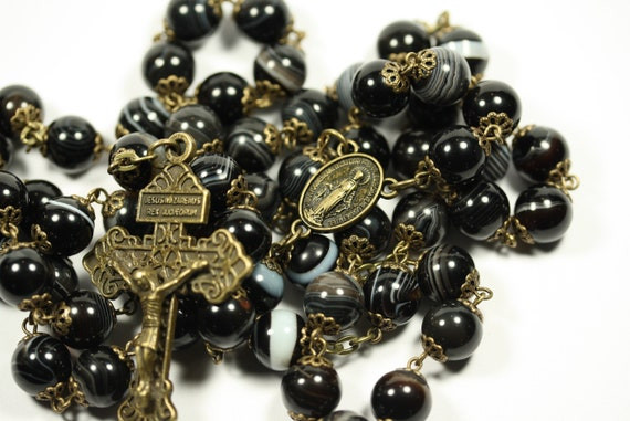 Large Smooth Stone Black Striped Agate in Bronze 10mm 5 Decade Bead Rosary Made in Oklahoma
